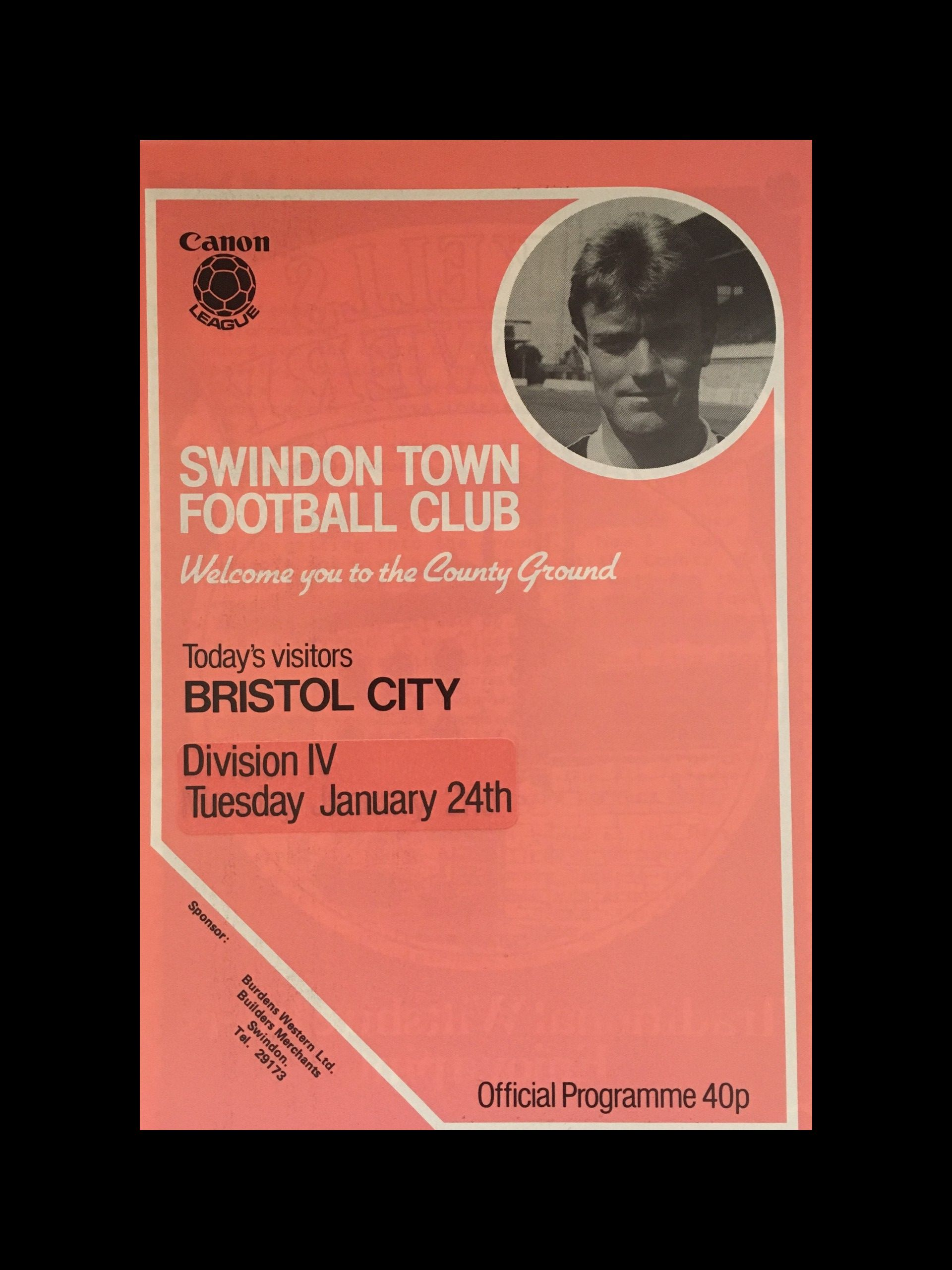 Swindon Town v Bristol City 24-01-84 Programme