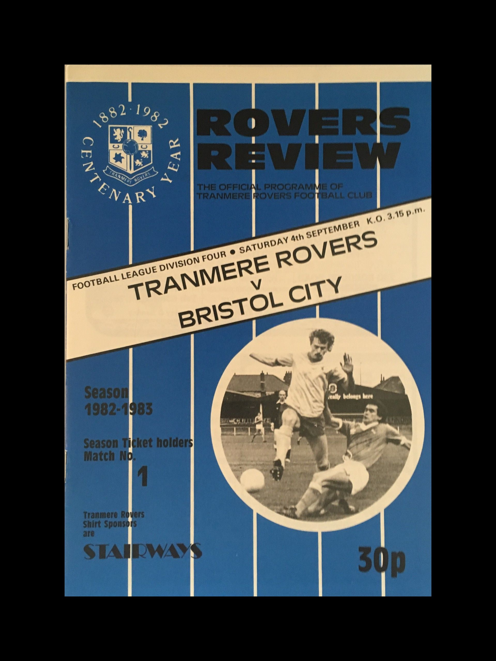 Tranmere Rovers v Bristol City 04-09-82 Programme
