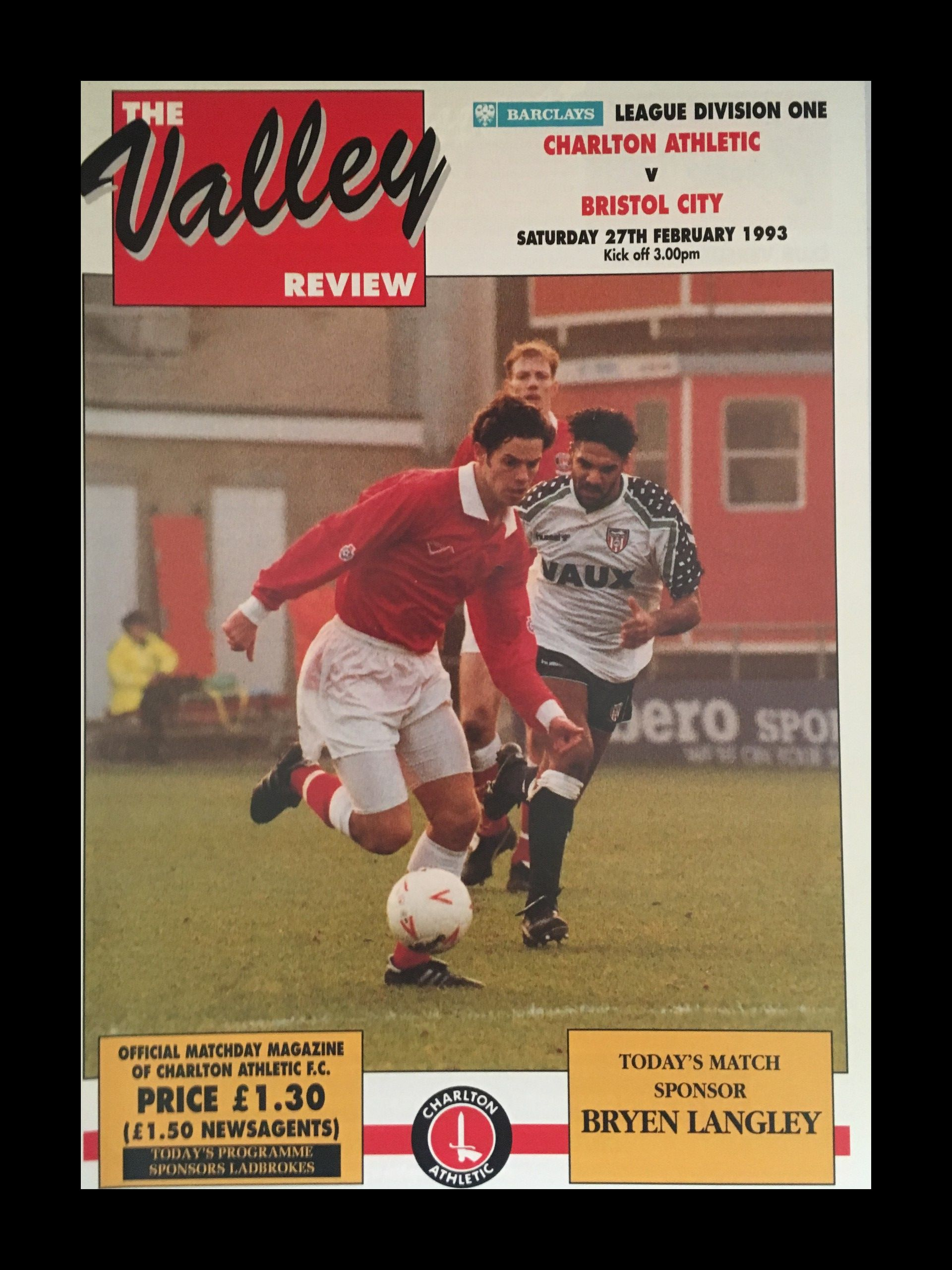 Charlton Athletic v Bristol City 27-02-1993 Programme