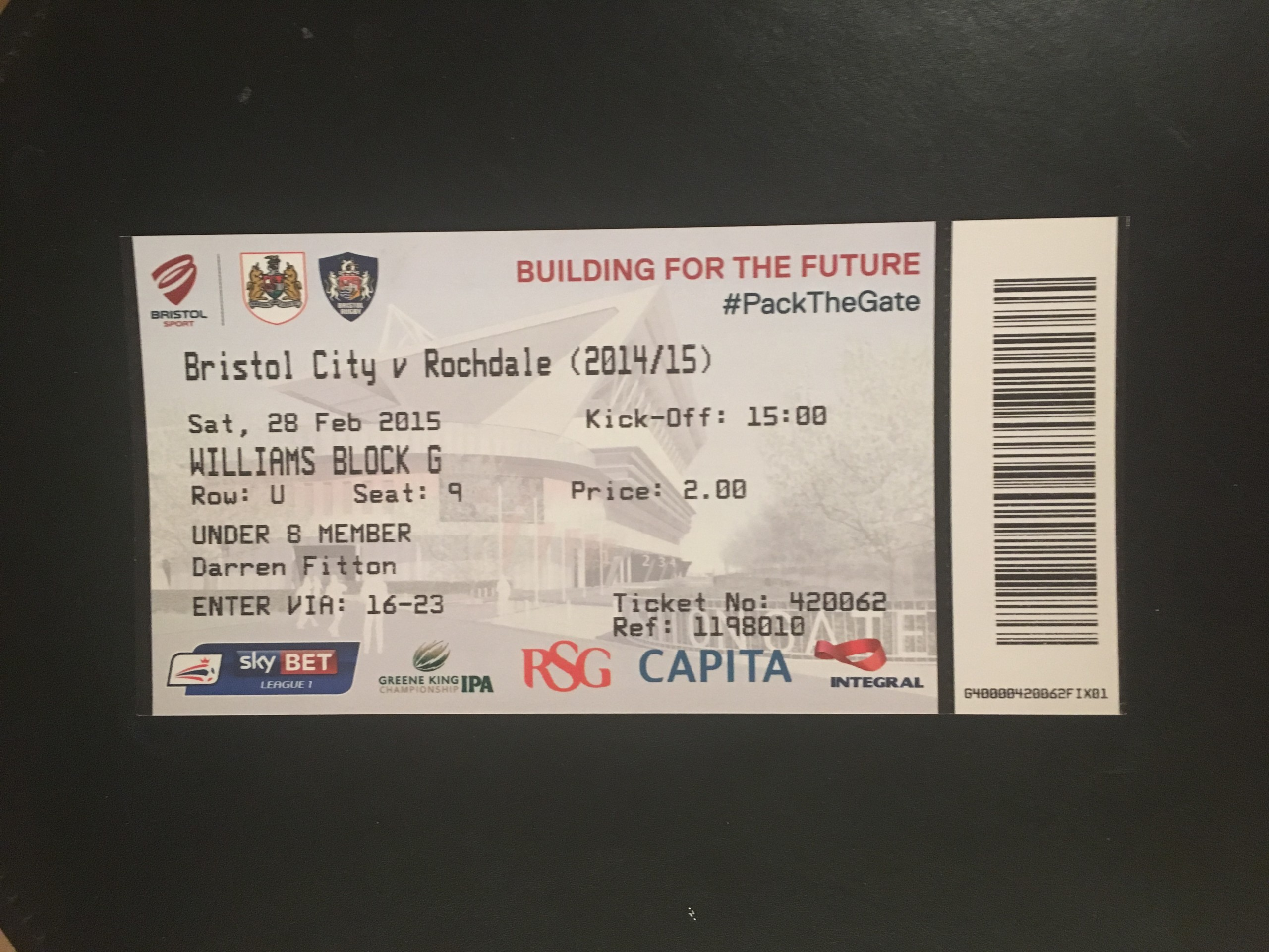 Bristol City v Rochdale 28-02-2015 Ticket