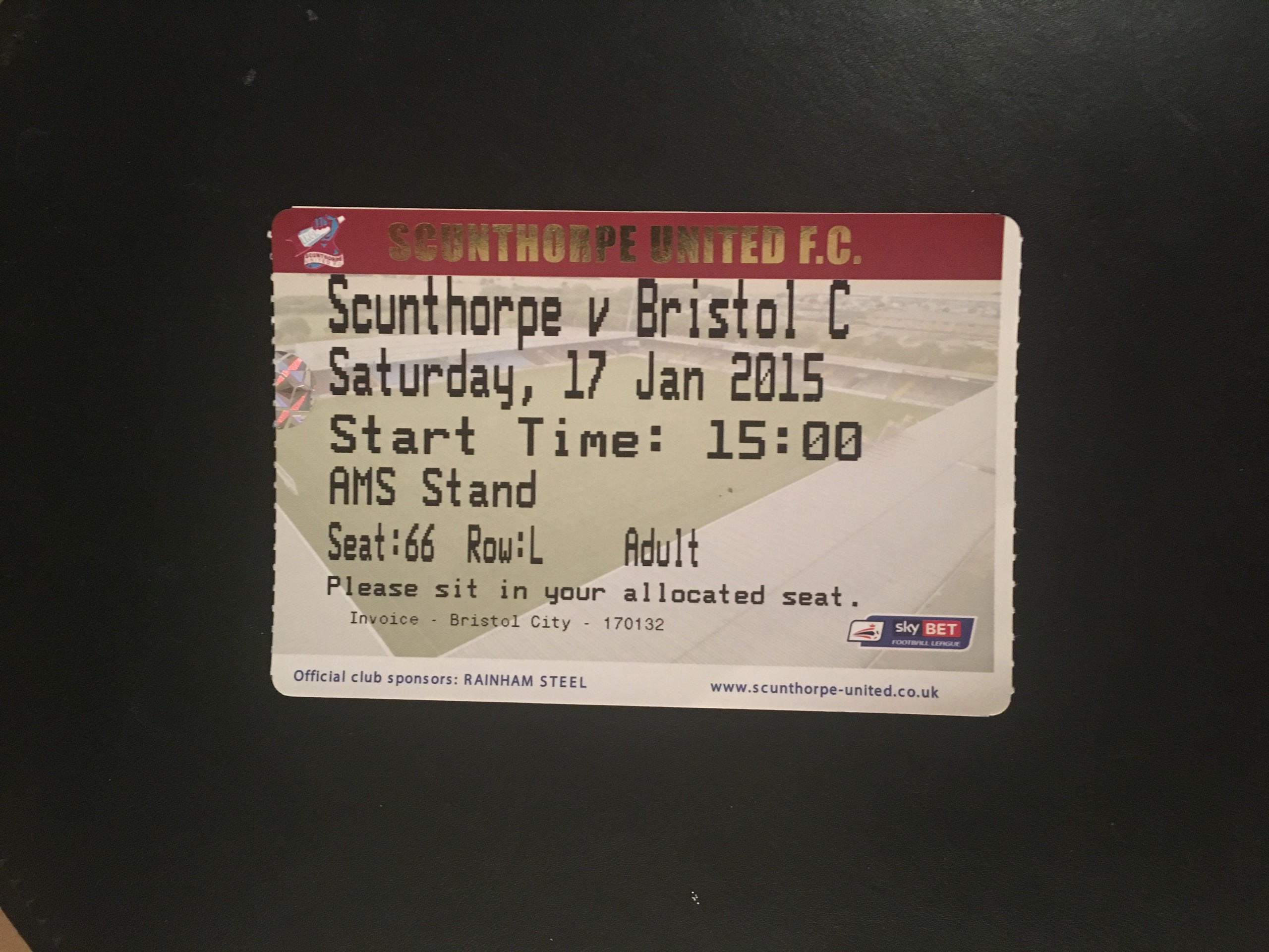 Scunthorpe United v Bristol City 17-01-2015 Ticket