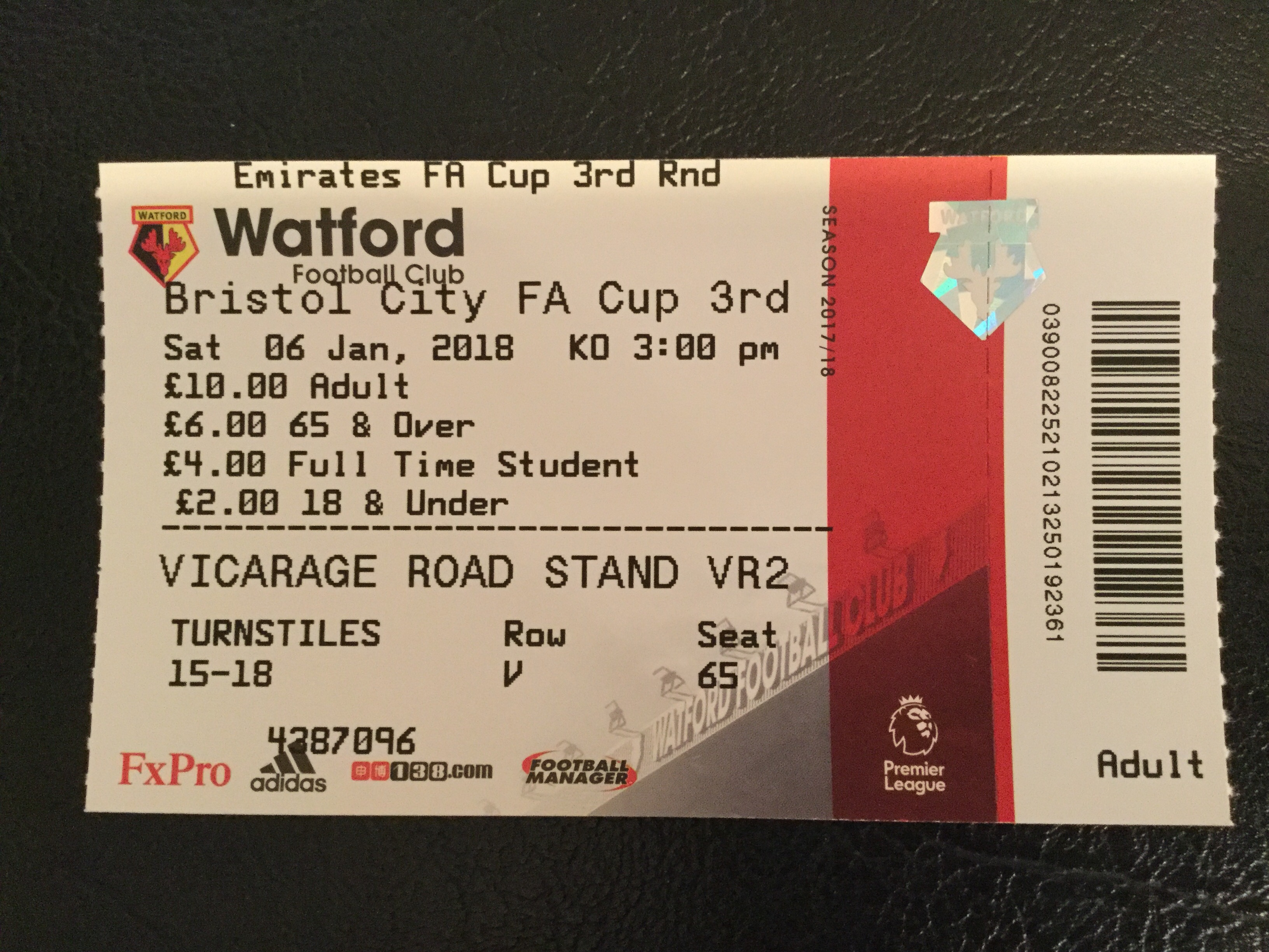Watford v Bristol City 06-01-18 Ticket