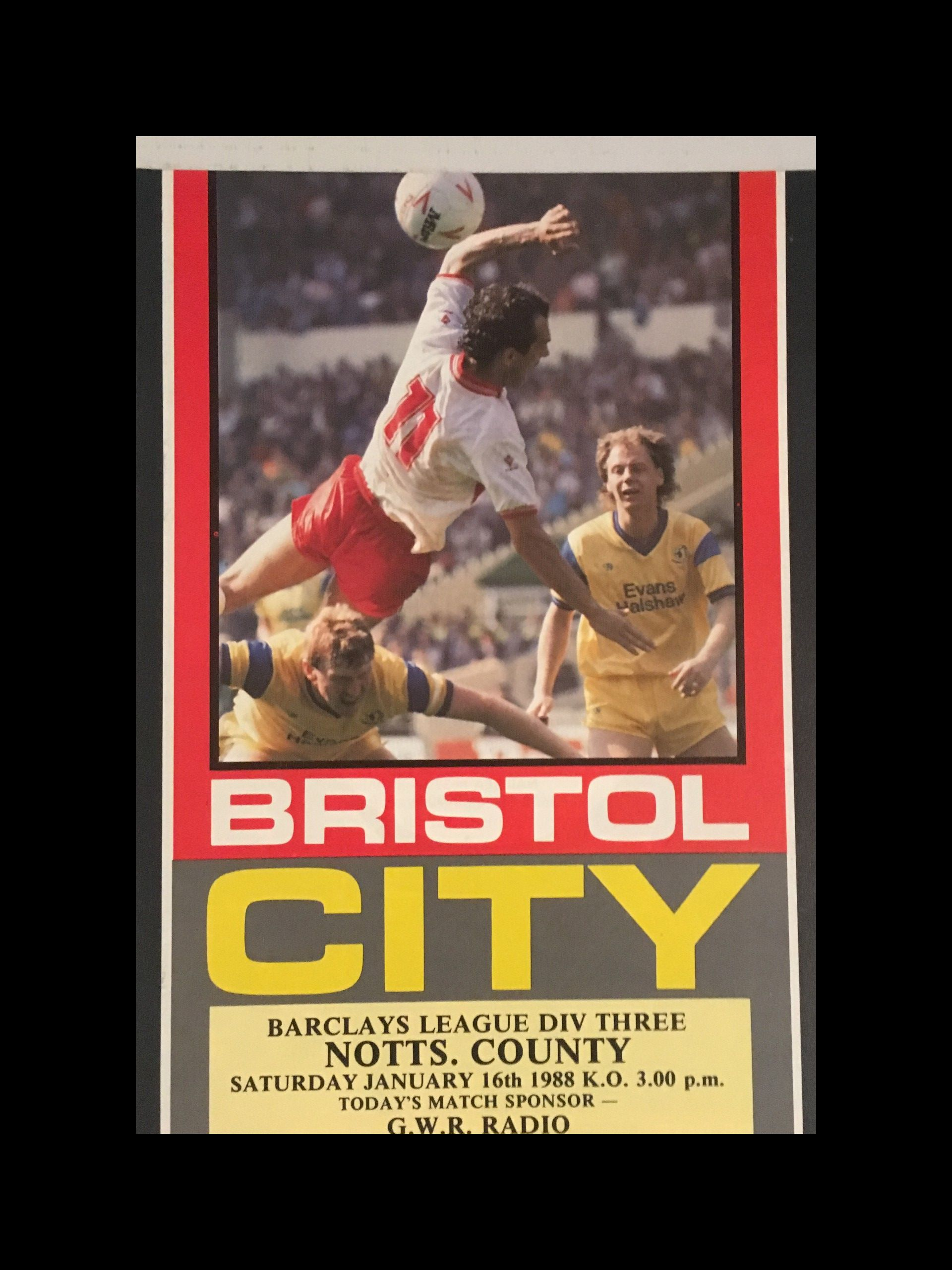 Bristol City v Notts County 16-01-1988 Programme