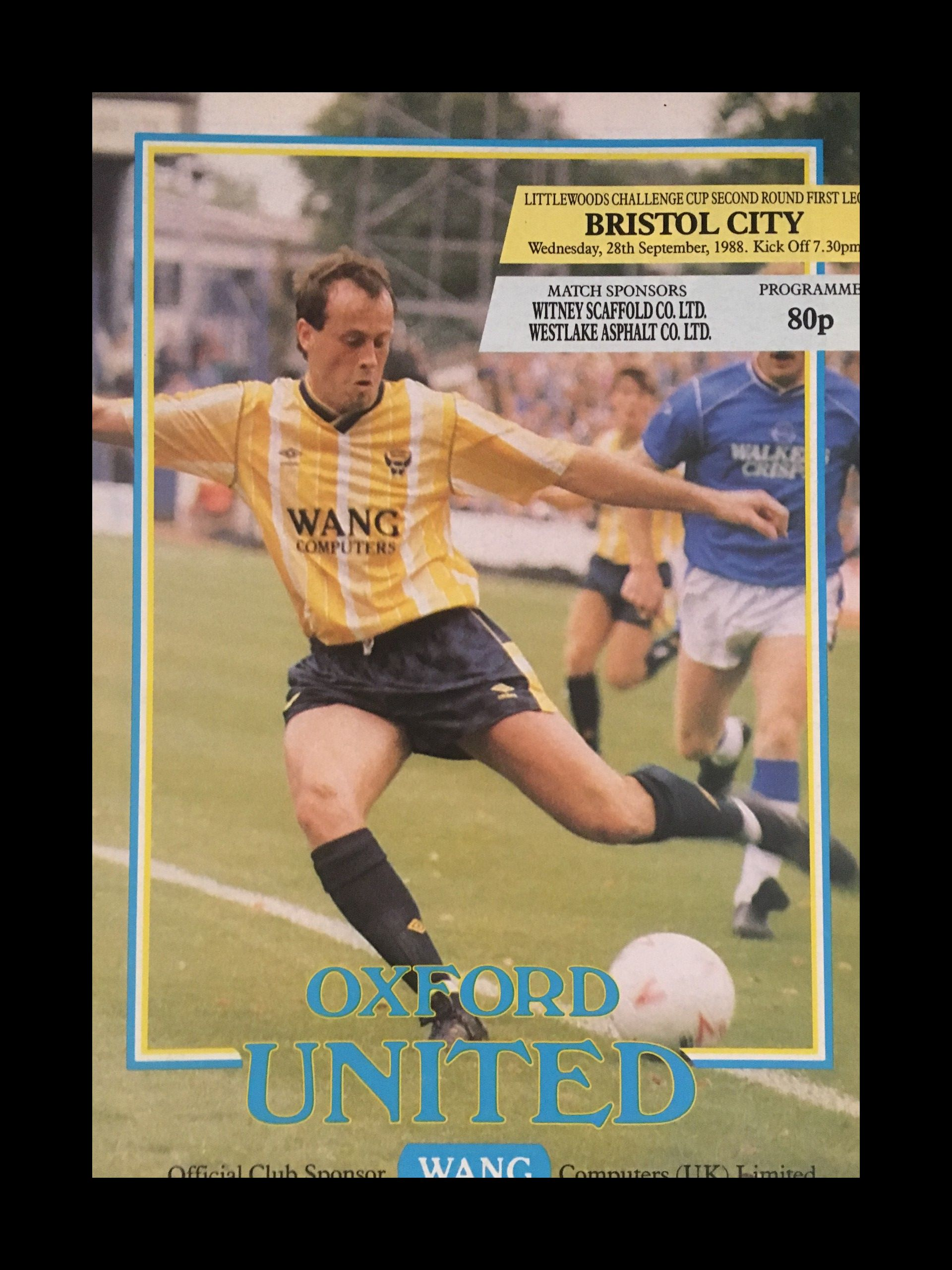 Oxford United v Bristol City 28-09-1988 Programme