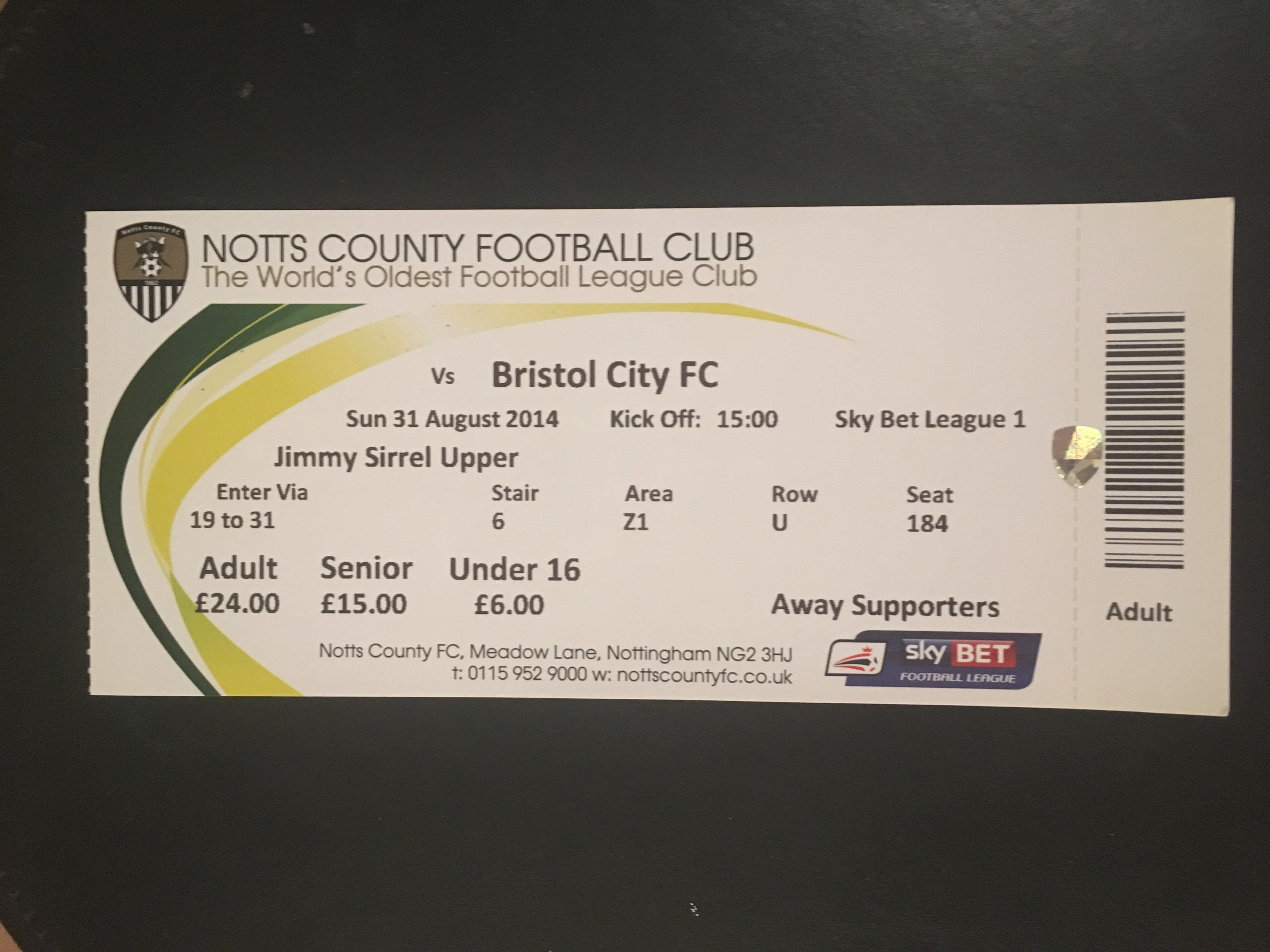Notts County v Bristol City 31-08-2014 Ticket