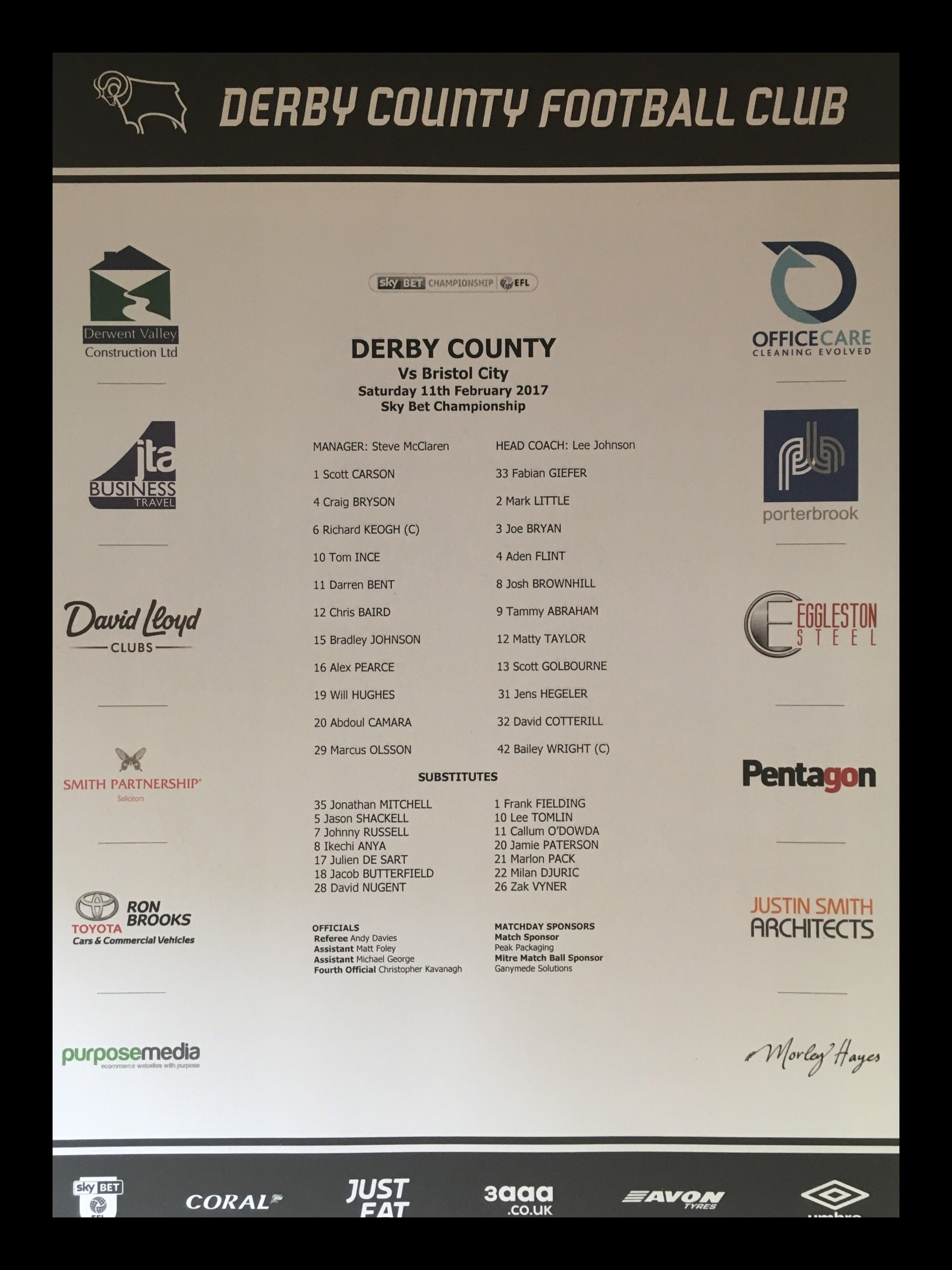 Derby County v Bristol City 11-02-17 Team Sheet