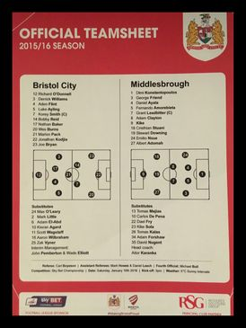 Bristol City v Middlesbrough 16-01-2016 Team Sheet