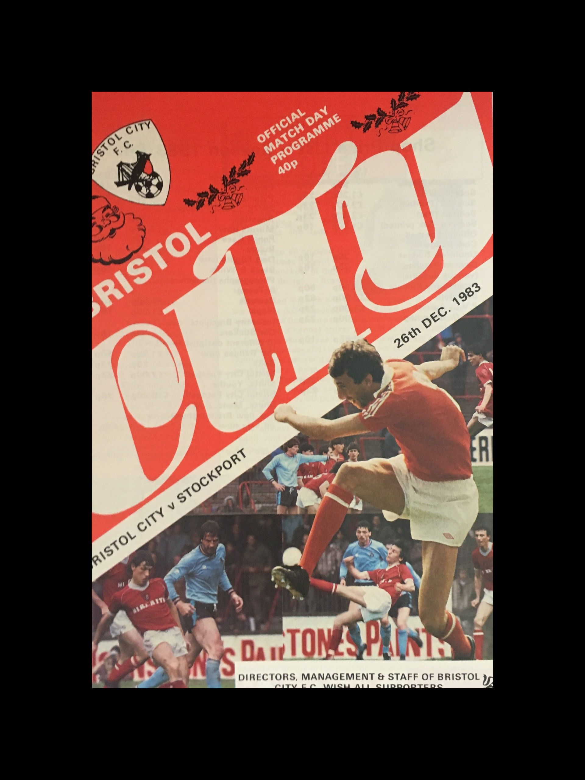 Bristol City v Stockport County 26-12-83 Programme