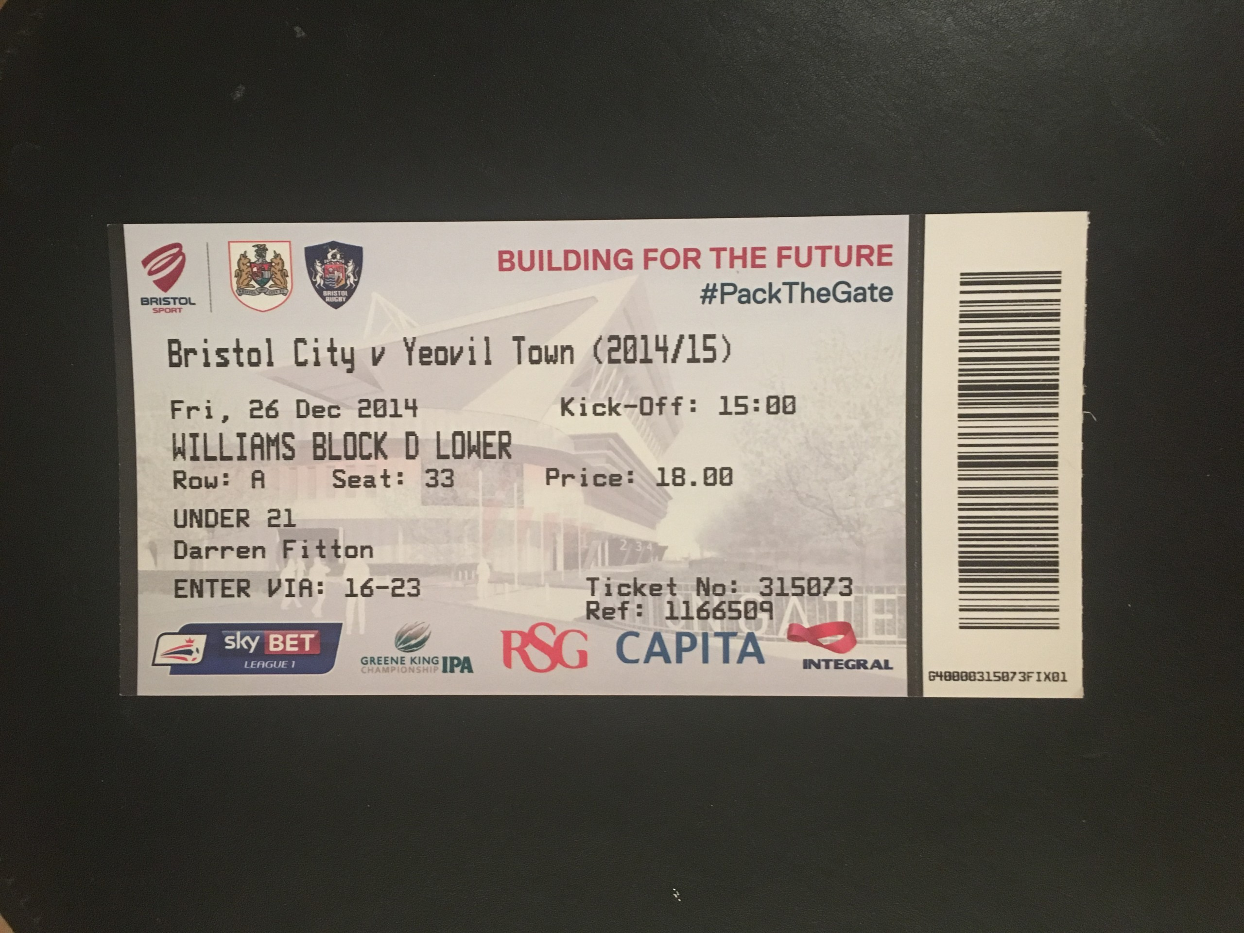 Bristol City v Yeovil Town 26-12-2014 Ticket