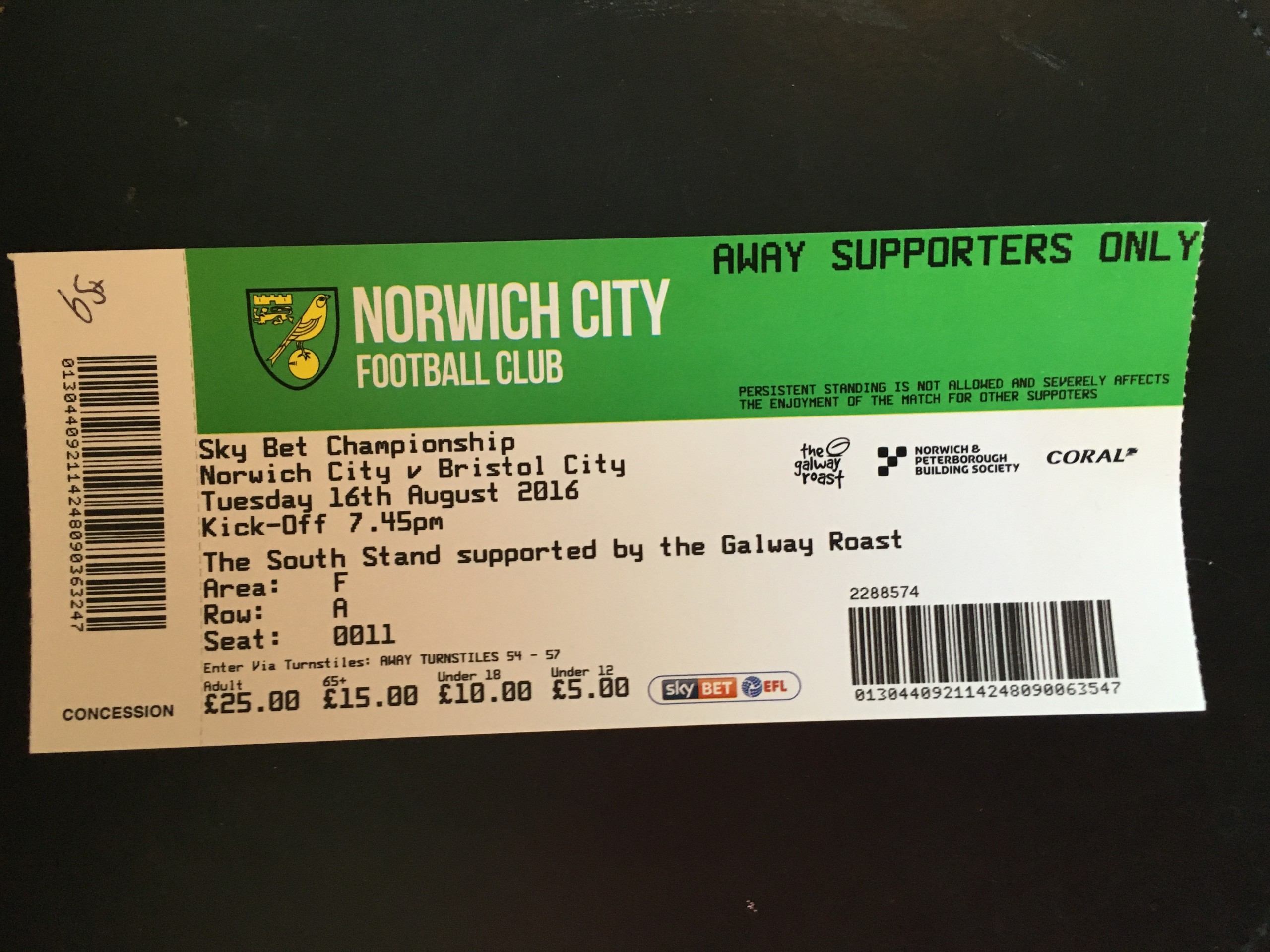 Norwich City v Bristol City 16-08-2016 Ticket