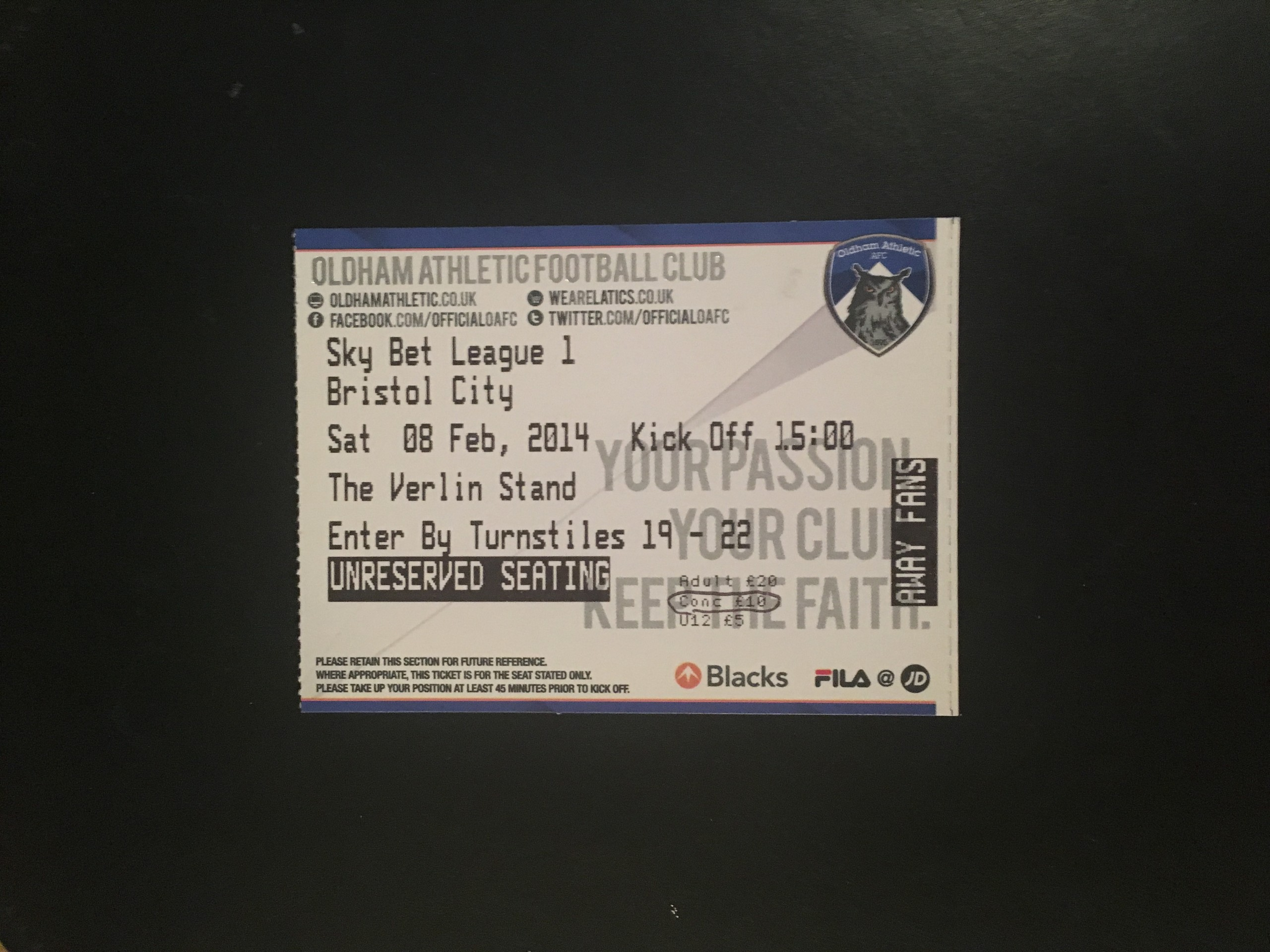 Oldham Athletic v Bristol City 08-02-2014 Ticket
