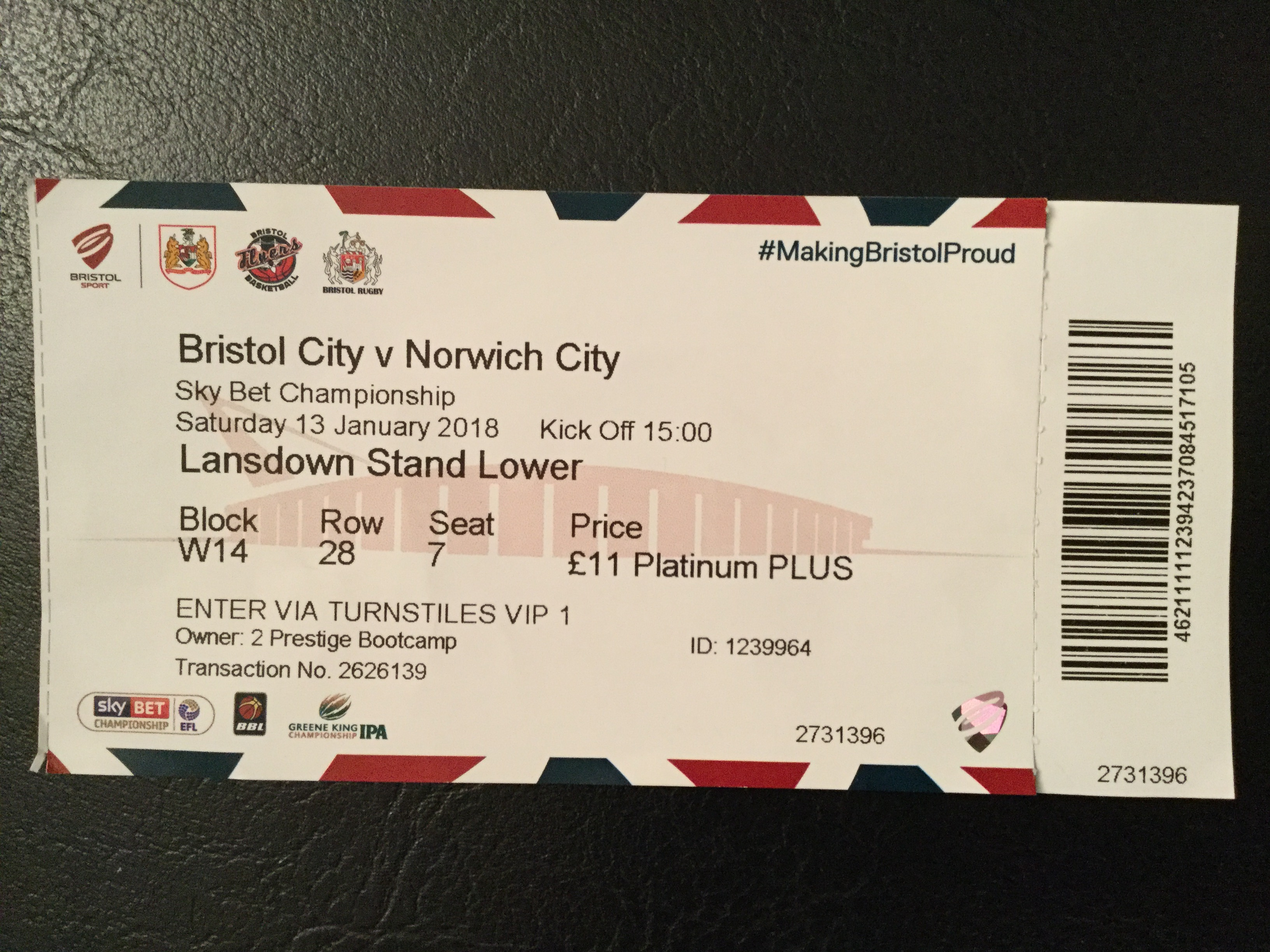 Bristol City v Norwich City 13-01-2018 Ticket