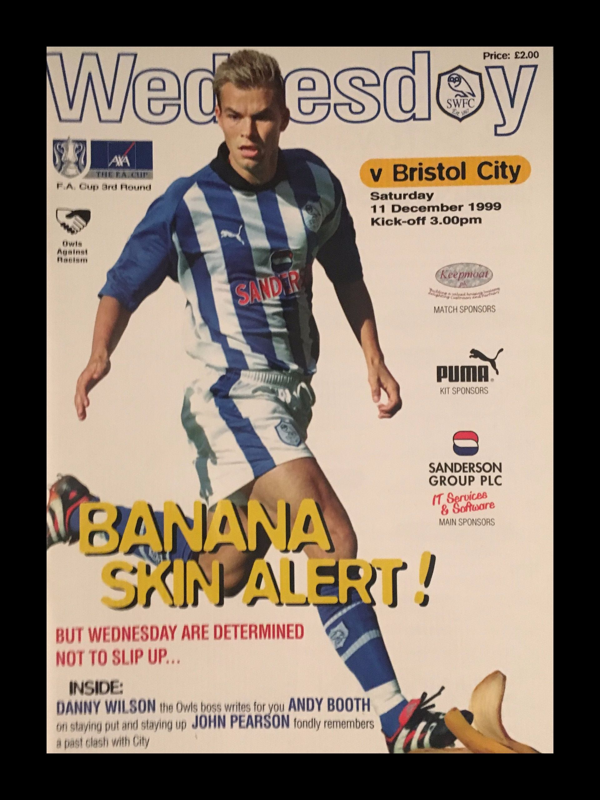 Sheffield Wednesday v Bristol City 11-12-1999 Programme