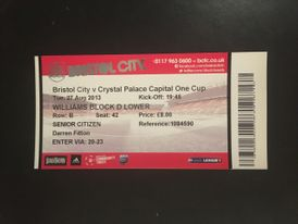 Bristol City v Crystal Palace 27-08-2013 Ticket