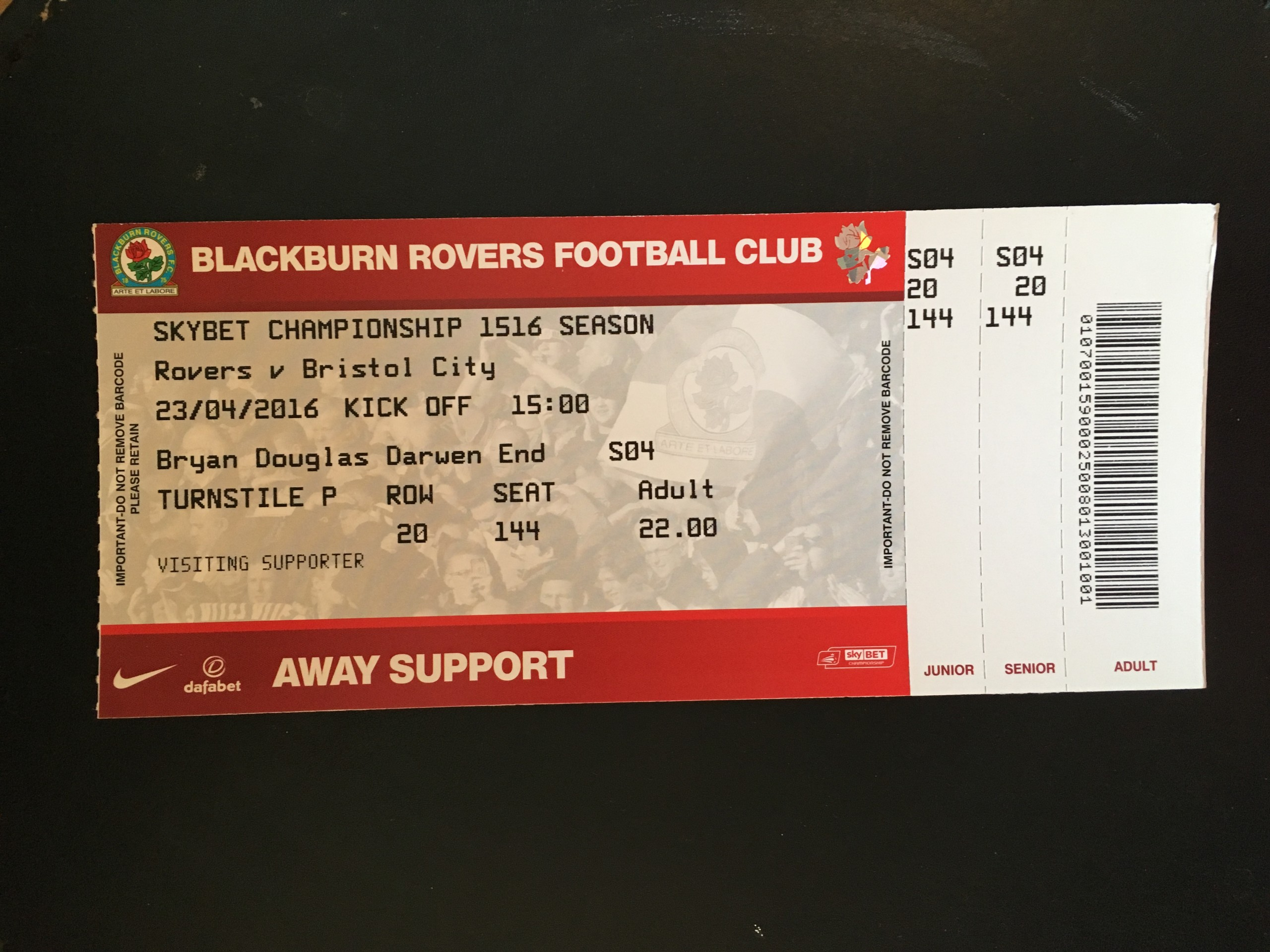 Blackburn Rovers v Bristol City 23-04-2016 Ticket