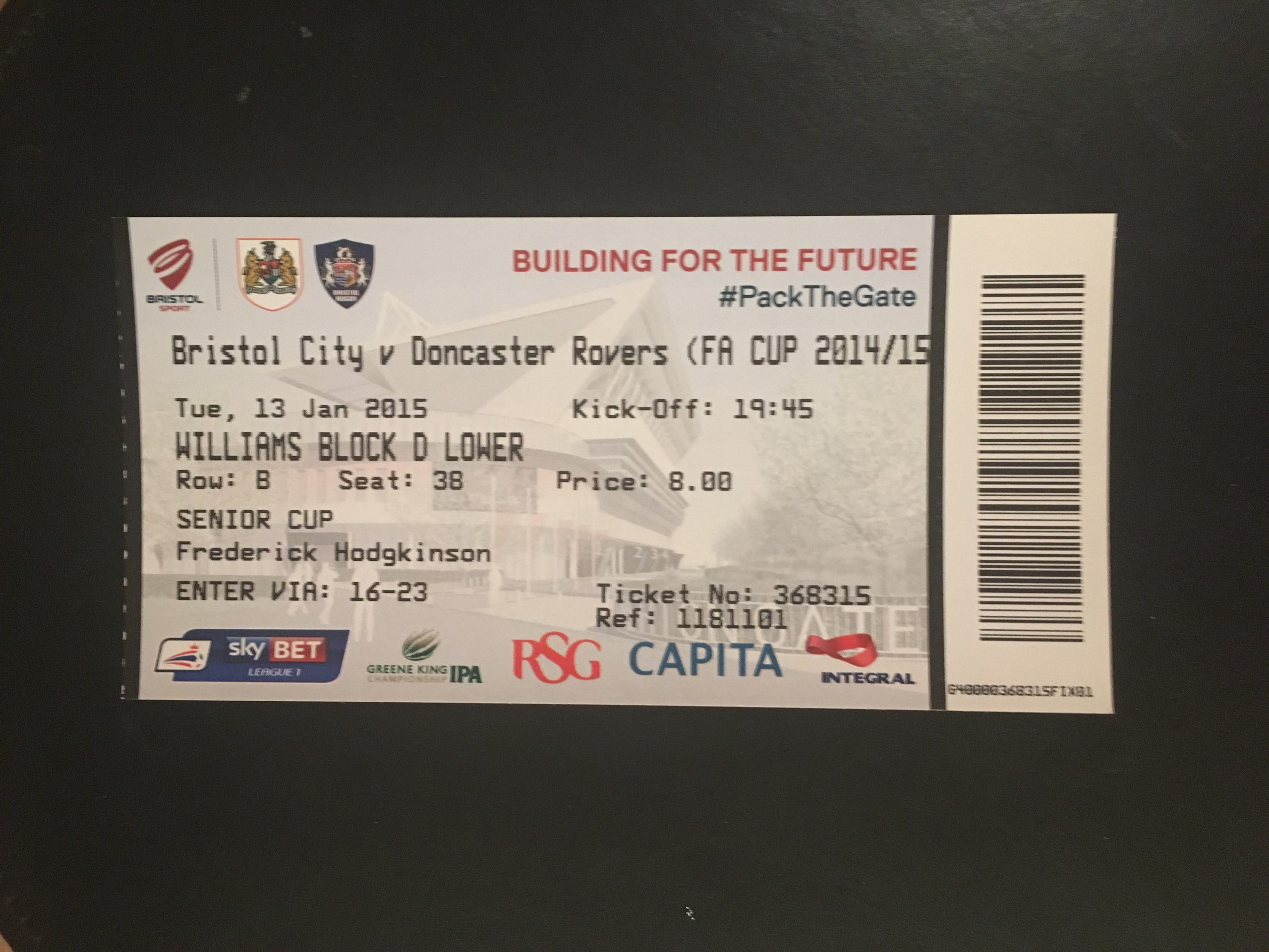 Bristol City v Doncaster Rovers 13-01-2015 Ticket