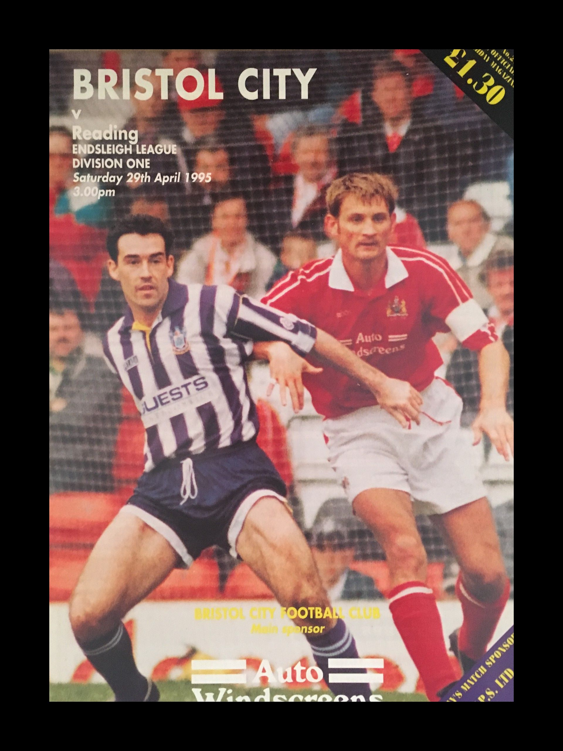 Bristol City v Reading 29-04-1995 Programme
