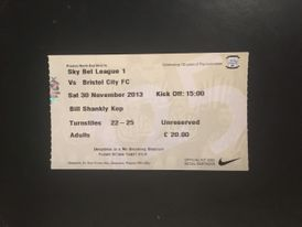 Preston North End v Bristol City 30-11-2013 Ticket