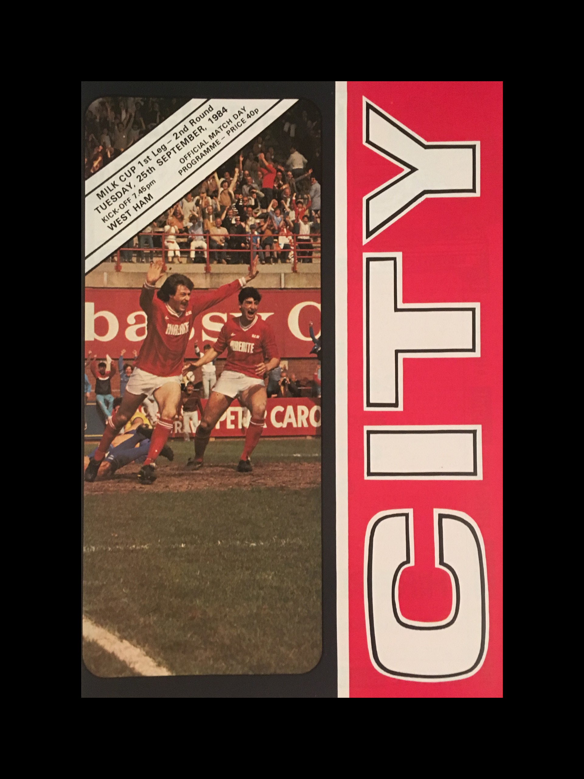 Bristol City v West Ham United 25-09-84 Programme