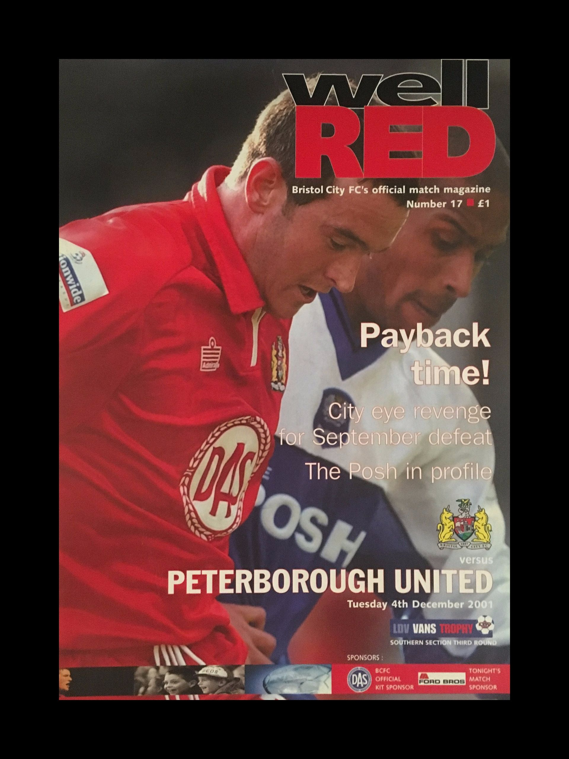 Bristol City v Peterborough United 04-12-2001 Programme