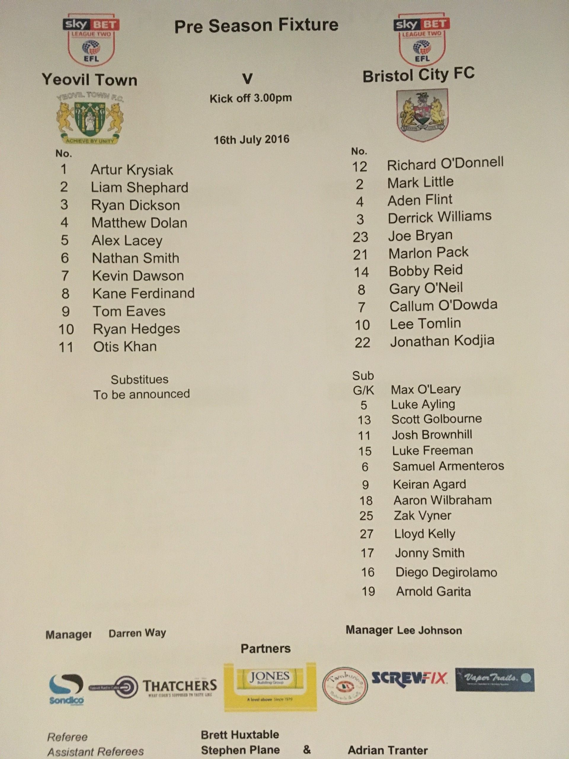 Yeovil Town v Bristol City 16-07-2016 Team Sheet