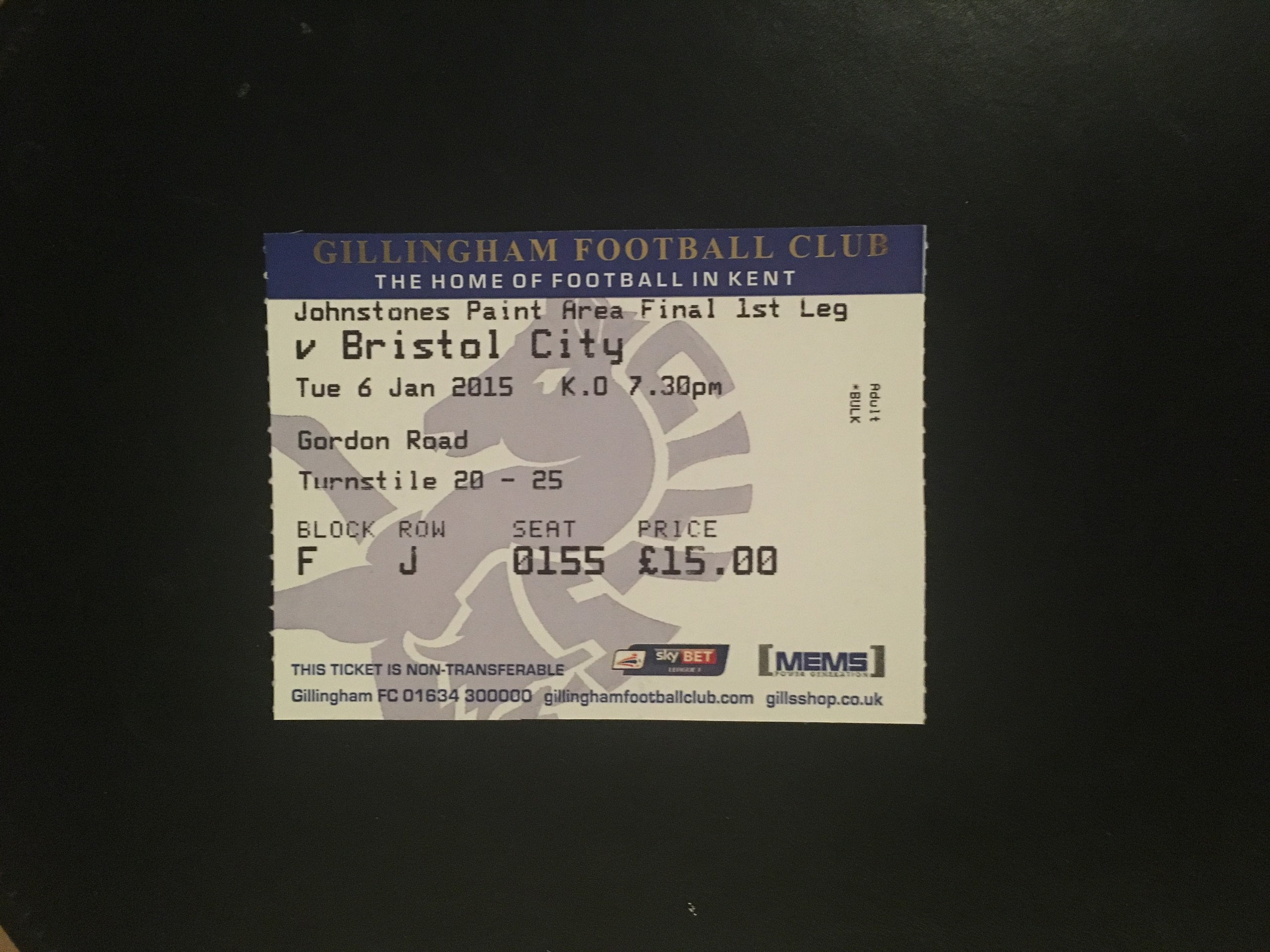 Gillingham v Bristol City 06-01-2015 Ticket