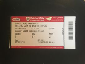 Bristol City v Bristol Rovers 04-08-12 Ticket