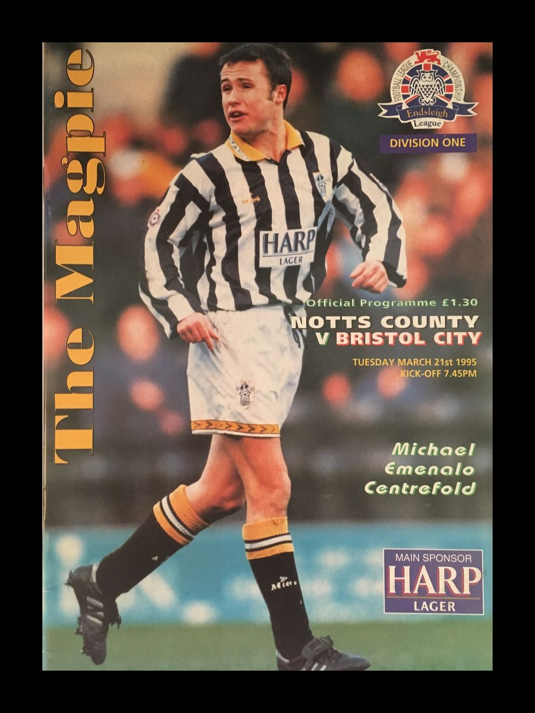 Notts County v Bristol City 21-03-1995 Programme