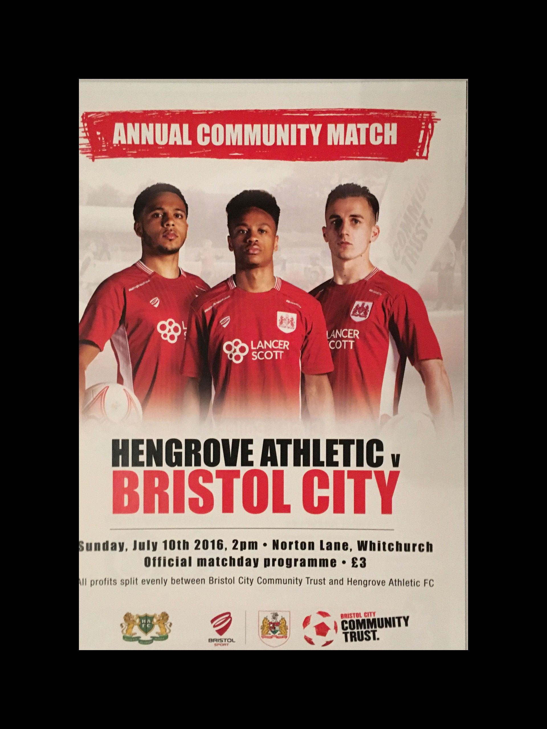 Hengrove Athletic v Bristol City 10-07-2016 Programme