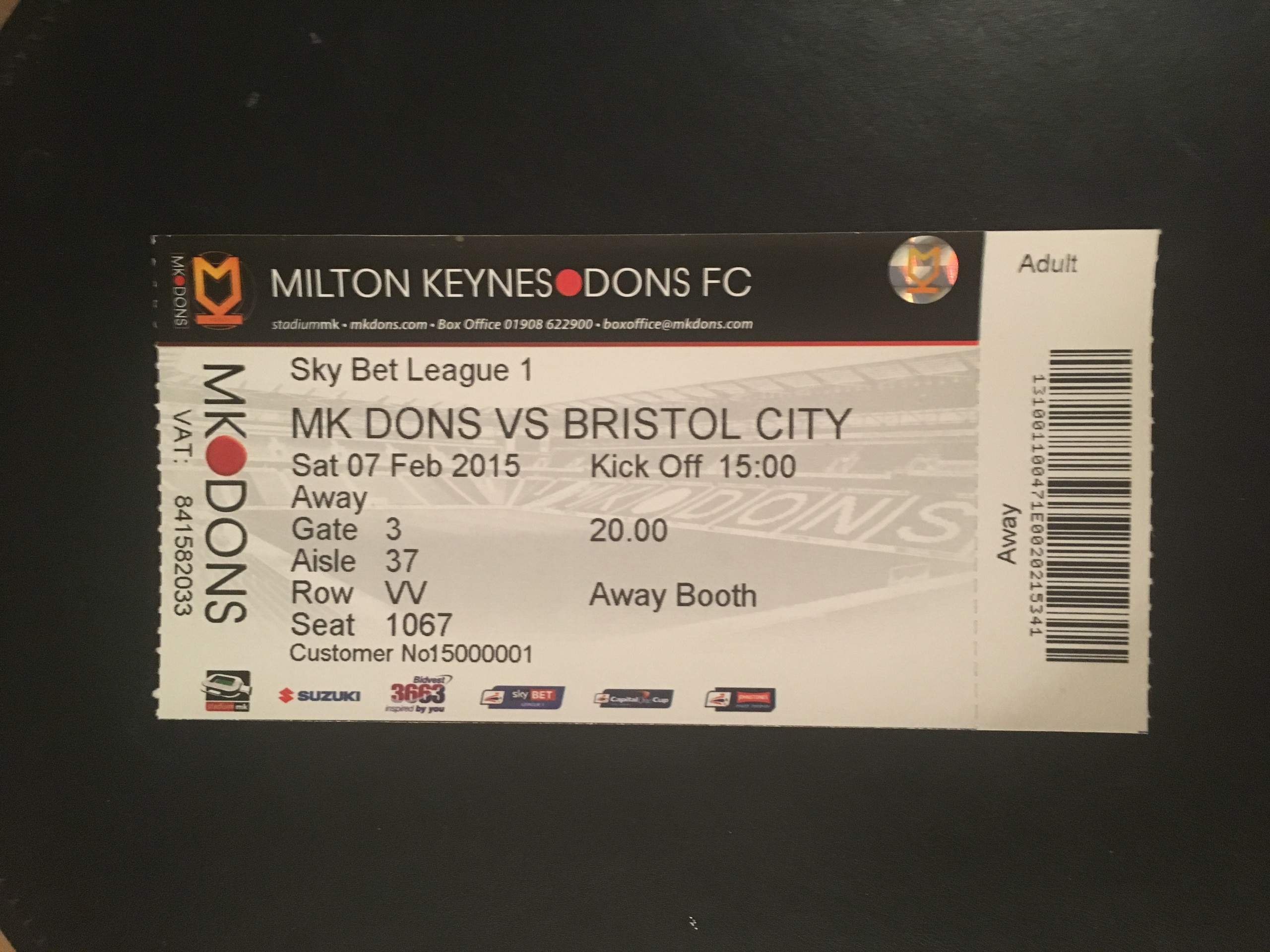 MK Dons v Bristol City 07-02-2015 Ticket