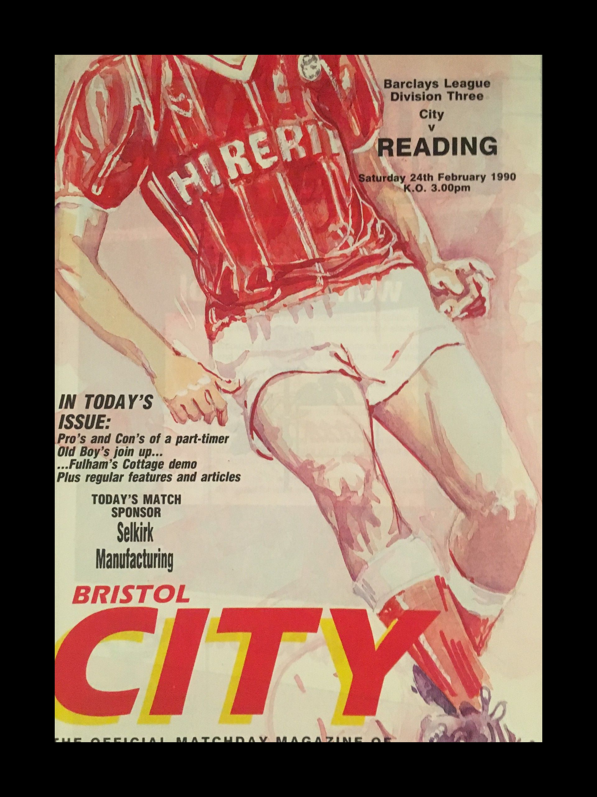 Bristol City v Reading 24-02-1990 Programme
