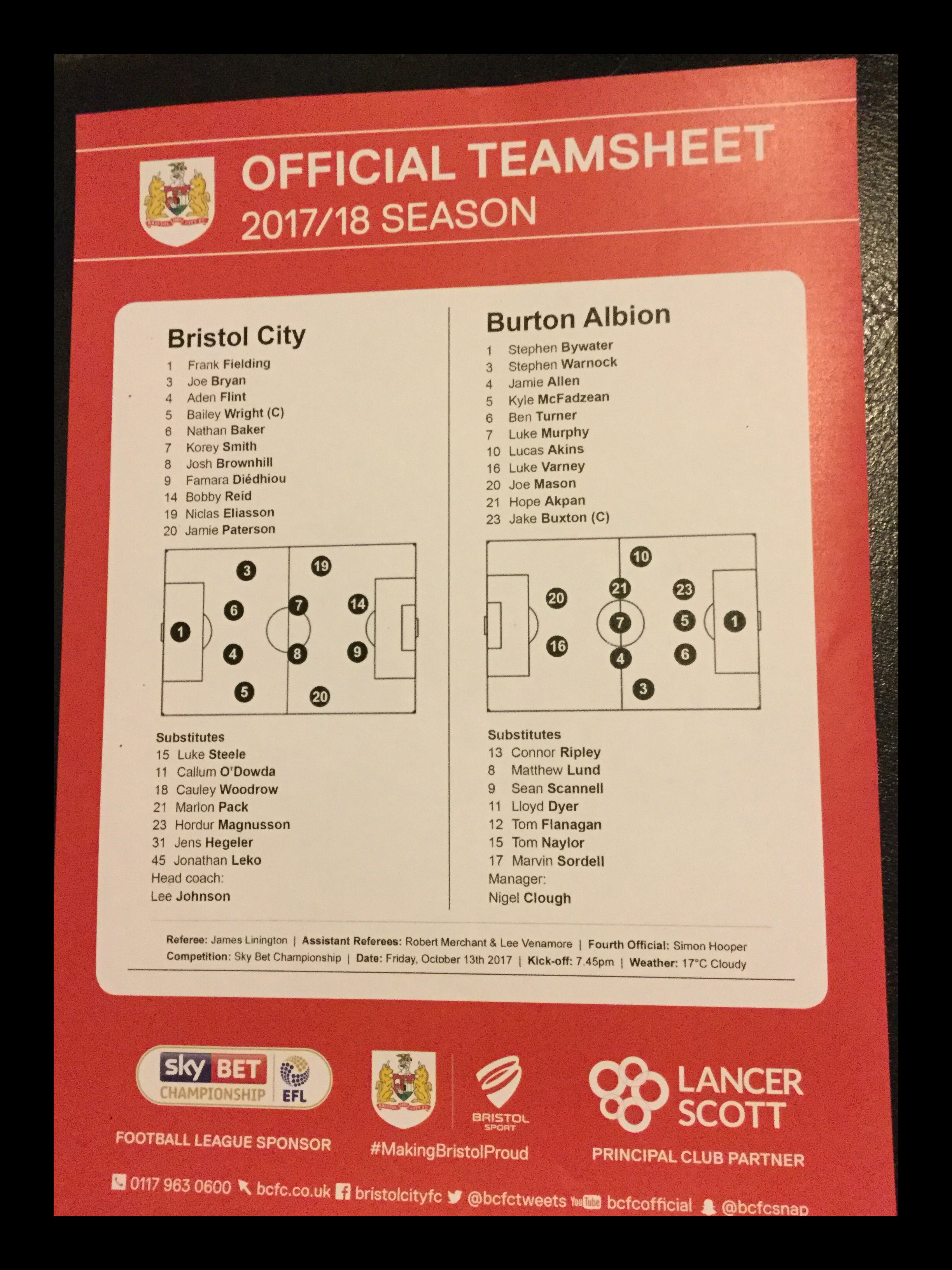 Bristol City v Burton Albion 13-10-17 Team Sheet