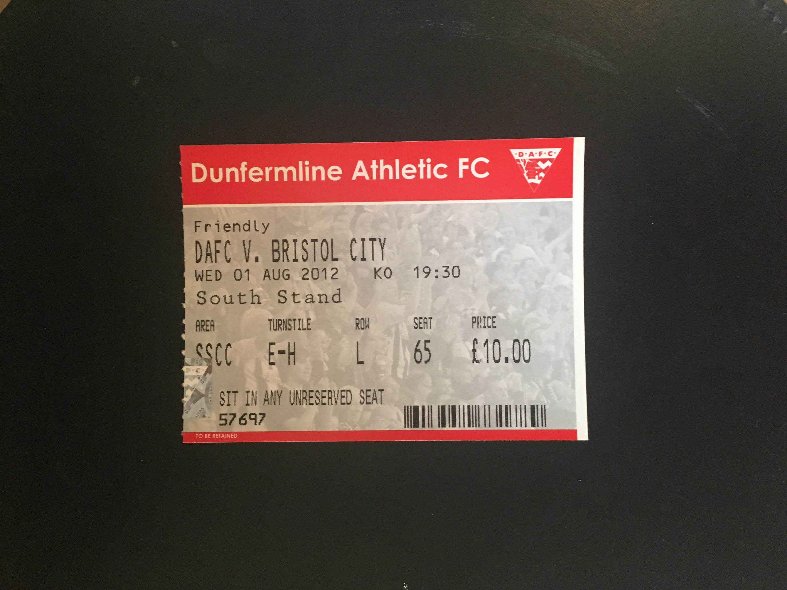 Dunfermline Athletic v Bristol City 01-08-12 Ticket